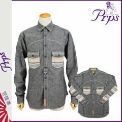 PRPS ピーアールピーエス 長袖ボタンシャツ グレー E61S19B BLK コットン メンズ