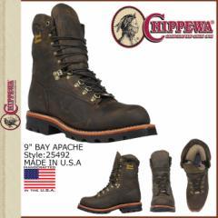 チペワ CHIPPEWA 9インチ ワークブーツ ブラウン BAY APACHE 25492 9INCH BAY APACHE Eワイズ レザー ベイ アパッチ メンズ