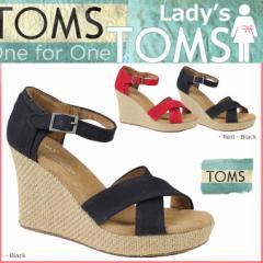TOMS SHOES トムズ シューズ レディース サンダル CANVAS WOMENS STRAPPY WEDGES トムス トムズシューズ