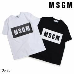 MSGM Tシャツ レディース エムエスジーエム 半袖 BOX LOGO TEE ブラック ホワイト MDM95-184299