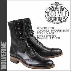 ウルヴァリン 1000マイル ブーツ WOLVERINE ブーツ WINCHESTER 1000 MILE BROGUE BOOT Dワイズ W06492 ブラック ワークブーツ メンズ