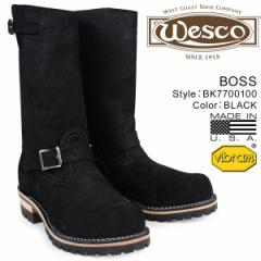 ウエスコ ボス WESCO ブーツ 11インチ エンジニア 11INCH BOSS Eワイズ スエード メンズ ブラック BK7700100 ウェスコ
