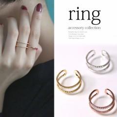 『二連デザインリング』【指輪 アクセサリー レディース シルバー ゴールド 2連 キュービックジルコニア IL-AC-0065】