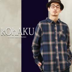 『kOhAKUデザインチェックシャツ』【トップス メンズ シャツ チェック柄 長袖 Cotton100%  OH-1401】