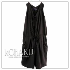 『kOhAKUVネックリボンサロペット』【レディース オールインワン リボン パンツ PO-16009】