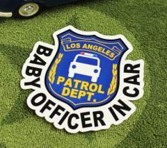 BABY IN CAR ステッカー 車 赤ちゃん アメリカン 赤ちゃん乗ってます おしゃれ かっこいい POLICE OFFICER サイズM_SC-BIM3-LFS