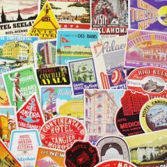 ステッカー スーツケース アメリカン 旅行カバン トラベルステッカー レトロ OLD HOTEL LABELS 50枚セット_SC-C176LB-DLT