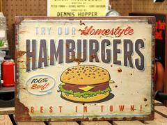 看板 アンティーク サインプレート サインボード アメリカン ハンバーガー ガレージ 男前インテリア HAMBURGERS_SP-EM14001-FEE