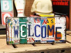 ウエルカムボード Welcome サインプレート アンティーク アメリカン ナンバープレート_SP-EM15004-FEE