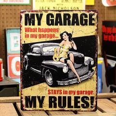 看板 アンティーク サインプレート サインボード アメリカン アメ車 ピンナップガール ガレージ MY GARAGE_SP-HLHT4662-FEE