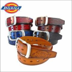 ディッキーズ ベルト Dickies ロングスクエア四角バックル 本革 ロゴ入り メンズ レディース カット可 (5色)