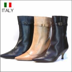送料無料 ショートブーツ 本革 レディース 黒 ヒール  牛革 インポート ポインテッドトゥ イタリア製 DEL BRENTA デルブレンタ(3色)