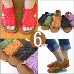 サンダル レディース 歩きやすい メッシュサンダル ペタンコ 痛くない アジアン風 ソフトレザースムース 編み込み ローヒール  (全6色)