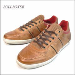 送料無料 スニーカー メンズ 本革 牛革 パンチングレザースニーカー レザー 靴  BULLBOXER ポルトガル製 インポート (ライトブラウン)