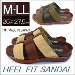 日本製 ヒールフィットサンダル 最高の履き心地 キャンバスコンビ こだわりインソール メンズ リゾート 夏 サマー ドライビング (全2色)