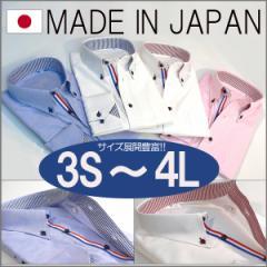 日本製 シャツ 国産 ボタンダウン フレンチカラー 切り替え 男女共用 親子ペア オックス生地使用 3S SS LL 3L 4L (4色)