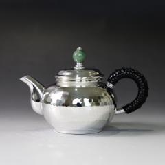 純銀 ウーロン茶ポット100cc 翡翠つまみ 重量約150g