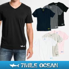 メール便 送料無料 7MILE OCEAN メンズ 半袖 Vネック Tシャツ プリント ロゴ ワンポイント 無地 Vネック 黒 白 グレー ネイビー ピンク