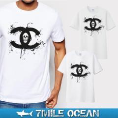 メール便 送料無料 7MILE OCEAN メンズ 半袖 Tシャツ プリント クルーネック ヘビーウェイト ドクロ X スカル トライバル 白 グレー ロゴ