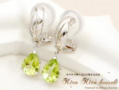 K14WG ペリドット イヤリング 8月の誕生石 キラキラ宝石店