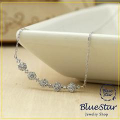 K18WG ダイヤモンド0.20ct お花デザインネックレス キラキラ宝石店 BlueStar