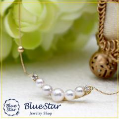 K18YG あこや真珠5連 ダイヤモンド ネックレス キラキラ宝石店 BlueStar