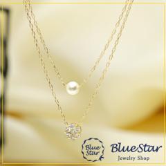 K18YG ダイヤモンド・ベビーパール ネックレス キラキラ宝石店