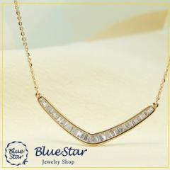 K18YG テーパーカットダイヤモンド0.40ct ネックレス キラキラ宝石 BlueStar