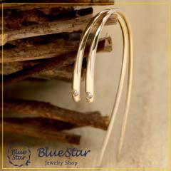 シンプルにつけやすいフックピアスに煌めくダイヤモンド キラキラ宝石店 BlueStar