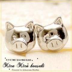 K18WG 子ぶたモチーフ ピアス キラキラ宝石店