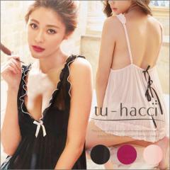 【tu-hacci】バックリボンキャミ+TバックショーツSET3colorブラック/ピンク/ルージュレッド