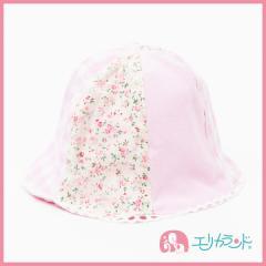 【送料無料】布帛帽子 新生児 ベビー 女の子 お花 ピンク 42cm 44cm ER1489