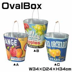 ダストボックス オーバルボックス バケツ ゴミ箱 ごみ箱 くず入れ 取っ手付き スチール パッケージ オールドスタイル 幅34cm LFS-430