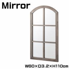 ミラー 鏡 壁掛け 幅60cm アンティーク 窓風 デザイン ウォールミラー 窓 ミラー 身だしなみ アンティーク風家具 掛け鏡 (TSM-38)