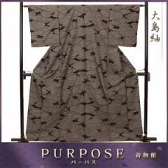 大島紬 正絹 着物 きもの 茶泥 雲取り 和服 和装 レディース 【中古】