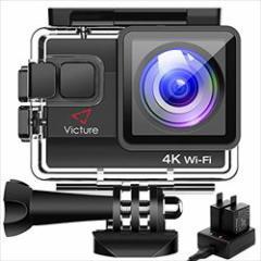 【改良版】Victure 4K アクションカメラ WiFi搭載 2000万画素 UHD 30M 防水カメラ 2個1050mAh電池 充電器付き タイムラプス動画 手振れ補