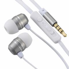 イヤホンマイク ステレオイヤホン スマホ対応 マイク付 音量調節付 ホワイト 白 AudioComm HP-B163N-S 03-2255 OHM オーム電機