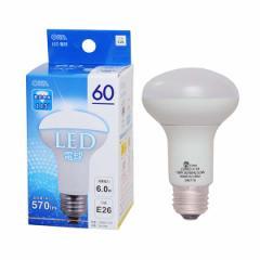 オーム電機 LED電球/レフランプ形 60W相当 昼光色 口金E26 広配光タイプ・密閉形器具対応 LDR6D-H A9 06-0206