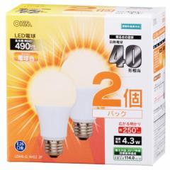オーム電機 広配光LED電球 40W形相当/490lm/電球色/E26 密閉器具対応 2個入 LDA4L-G AH52 2P 06-0615