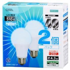 オーム電機 広配光LED電球 40W形相当/510lm/昼白色/E26 密閉器具対応 2個入 LDA4N-G AH52 2P 06-0616