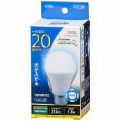 LED電球 一般電球形 E26 20形相当 2W 昼光色 212lm 広配光 密閉器具対応 107mm LEDdeQ LDA2D-G AH9 06-0784