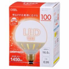 オーム電機 広配光 LEDボール球 E26/16W 電球色 06-1615