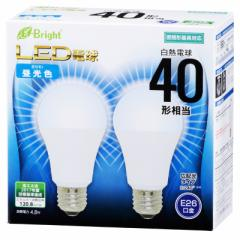 E-Bright LED電球 一般電球形 E26 40形相当 昼光色 2個入 4.8W 580lm 広配光 112mm 密閉器具対応 LDA5D-G AS25 2P 06-3172