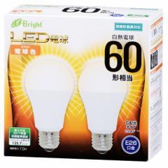 E-Bright LED電球 一般電球形 E26 60形相当 電球色 2個入 7W 880lm 広配光 112mm 密閉器具対応 LDA7L-G AS25 2P 06-3173