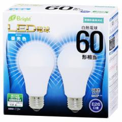 E-Bright LED電球 一般電球形 E26 60形相当 昼光色 2個入 7W 920lm 広配光 112mm 密閉器具対応 LDA7D-G AS25 2P 06-3174