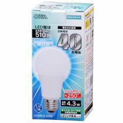 オーム電機 広配光LED電球 40W形相当/510lm/昼白色/E26 密閉器具対応 LDA4N-G AH52 06-3283