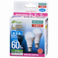 OHM LED電球 ミニクリプトン形 60形相当 E17 昼光色 広配光 密閉器具/断熱材施工器具対応 2個入 LDA7D-H-E17IH212P 06-3393 オーム電機