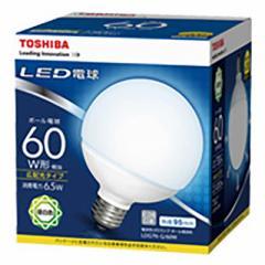 LED電球 ボール形 E26 60形相当 6.5W 昼白色 広配光タイプ 127mm 東芝 LDG7N-G/60W 16-0595