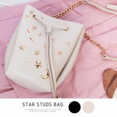 ショルダーバッグ レディース スタースタッズ ゴールド チェーンバッグ タッセル 巾着 PUレザー 収納 かばん BAG