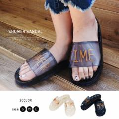 【最終クリアランスSALE!】SUMMER TIMEロゴクリアシャワーサンダル レディース 靴 ぺたんこ ブラック S M L